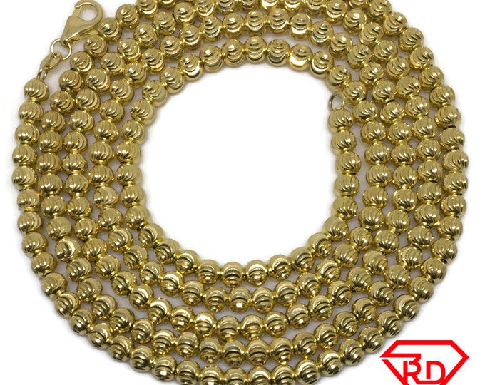 Moon cut beads extra long chain 32 inch yellow gold on silver