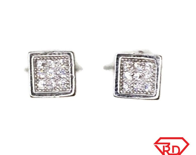 Brand New white gold on 925 Silver Studs Earrings Small Square with white round CZ ( 5 . 3 mm )