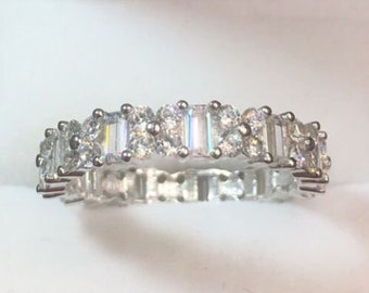New 14k white gold layer on sterling silver 3 ct cz  eternity ring band size 10