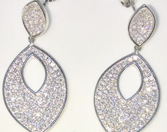 Brand New White Gold on 925 Solid Sterling Silver Marquise shaped white round CZ Dangle Drop Earrings ( 16 . 5 mm )