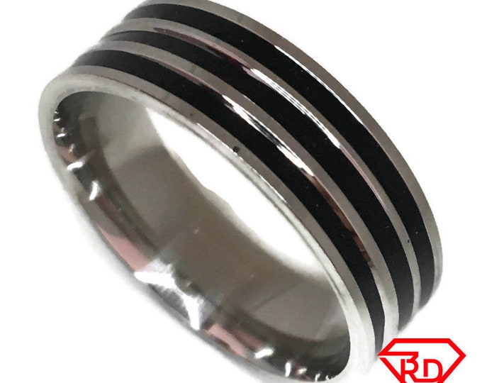 Zebra Ring black and White gold on Steel (size 13)