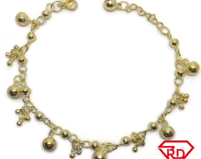 Small & Medium Bells charm 8 inch Bracelet 999 Yellow Gold Layer