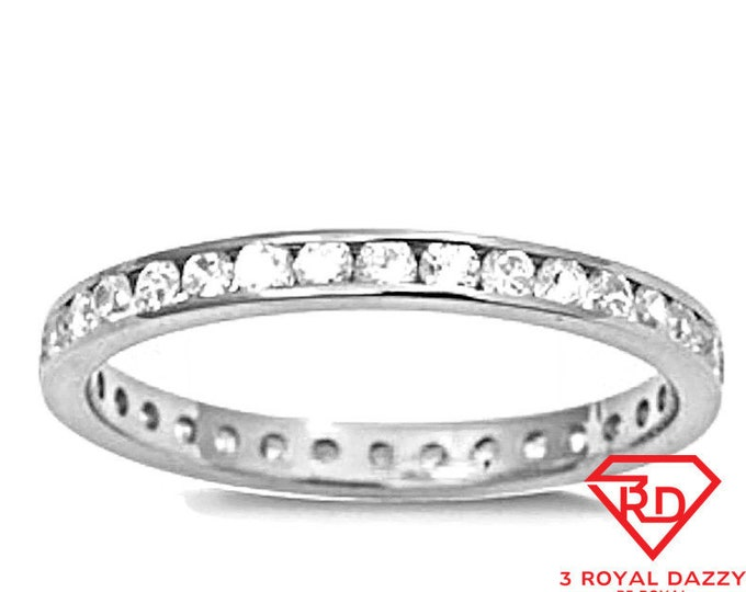 14k w gold layer on sterling silver wedding 1.00ct- cz eternity ring band size 7