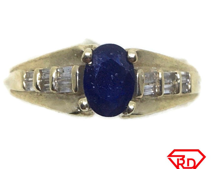 4 prong Sapphire & diamond ring 14k yellow gold S7