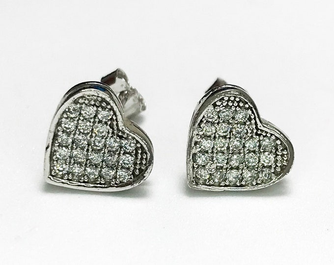 NEW 925 Sterling Silver Cz Heart Shaped With Stones Stud Earrings