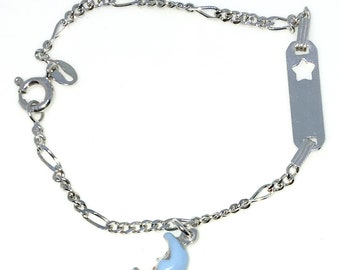 New White Gold Layered 925 Solid Sterling Silver 7 inch Moon and star plate baby Bracelet with Springring clasp