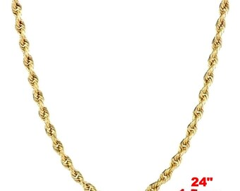 Italian 14k yellow gold layer on .925 Sterling Silver Classic Rope Chain 1.5 MM 24 ""