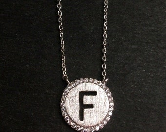 "14k layer on solid .925 silver letter ""f"" cz handset cable link necklace: 16-18"""