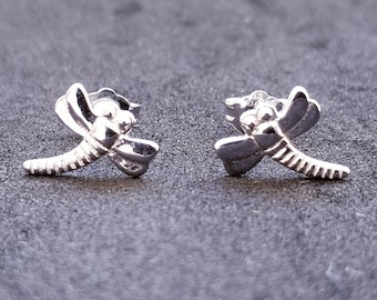 New 14K White Gold on 925 Sterling Silver Little Insect Stud Earrings