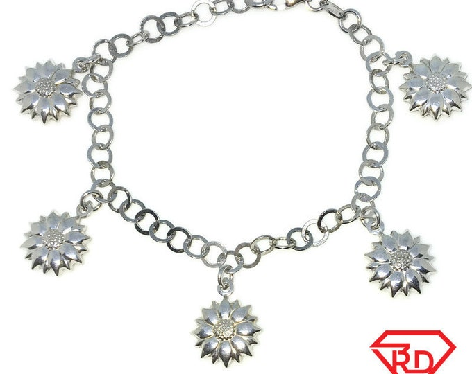 New White Gold Layered 925 Solid Sterling Silver 7 inch Sun flowers chain baby Bracelet with Lobsterclaw clasp