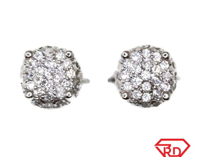Brand New white gold on 925 Silver Studs Earrings Small Round shape with white round CZ ( 6 . 3 mm )