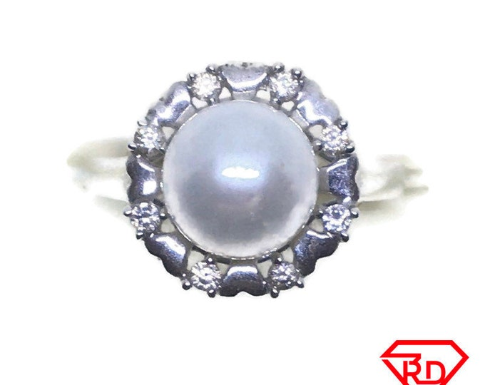 Round Diamond & pearl ring 14k white gold S7