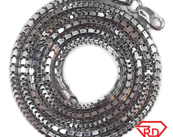 White gold layer on silver necklace hollow box-like chain 18 inch