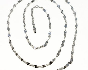 Brand New White Gold on 925 Solid Sterling Silver 18 inch Diamond cut Special Oval Link Necklace with Springring clasp