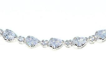New White Gold Layered 925 Solid Sterling Silver 7 inch Round & Pear White CZ Tennis Bracelet with Box Clasp