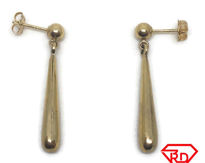 Long Tear drops dangle Earring 14k Solid Yellow gold