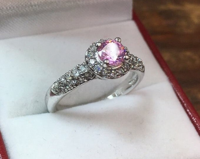 New royal dazzy exclusive pink cubic zirconia engagement wedding ring size 7.75