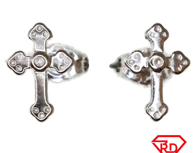Small cross Stud Earrings White Gold on Silver