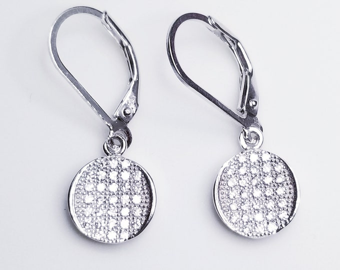 NEW 14K White Gold on 925 Cute Round Circle CZ Fishhook Earrings