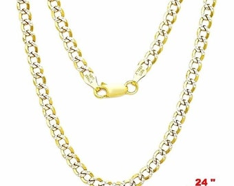 """Italy diamond-cut 14k white & yellow gold layered over 925 silver 3.8mm curb 24"""""""