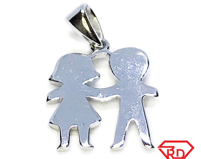 NEW 14K White Gold Layered on .925 Sterling Silver Couple Pendant