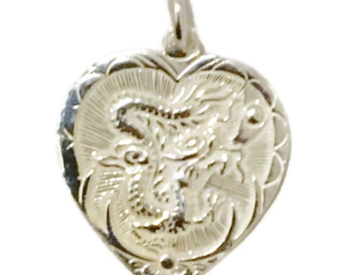 Brand New Silver Pendant heart shape with dragon and phoenix