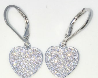 Brand New White Gold on 925 Solid Sterling Silver Heart shaped white round CZ Dangle Drop Earrings ( 13 . 0 mm )