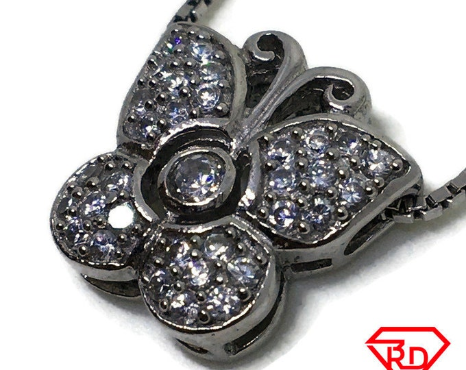 Cubic Zirconia small Butterfly pendant white Gold on 925 silver