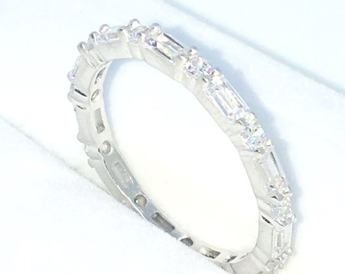 New Handcraft White Gold Plated on Sterling Silver eternity ring band