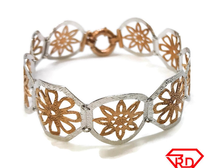 NEW 14K White And Rose Gold Layered on Sterling Silver Octagon Floral Pattern Bracelet - 7.5""