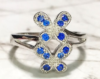 NEW 14K White Gold Layered on Sterling Silver Double Butterflies with Blue Stones Ring
