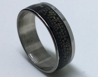 7 . 4 mm Brand New Gothic Black Plated with Spanish Writing on Stainless Steel ring band