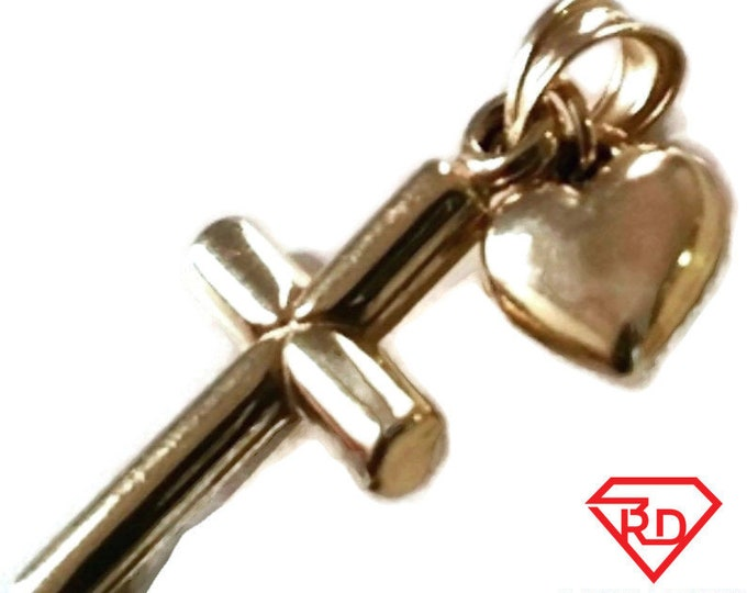 Small italian christian cross & heart 14k gold layer on 925 silver pendant charm
