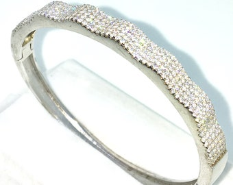 New White Gold Layered on 925 Solid Sterling Silver Oval Wedding Bangle Bracelets Wide rows of white round CZ and Box clasp
