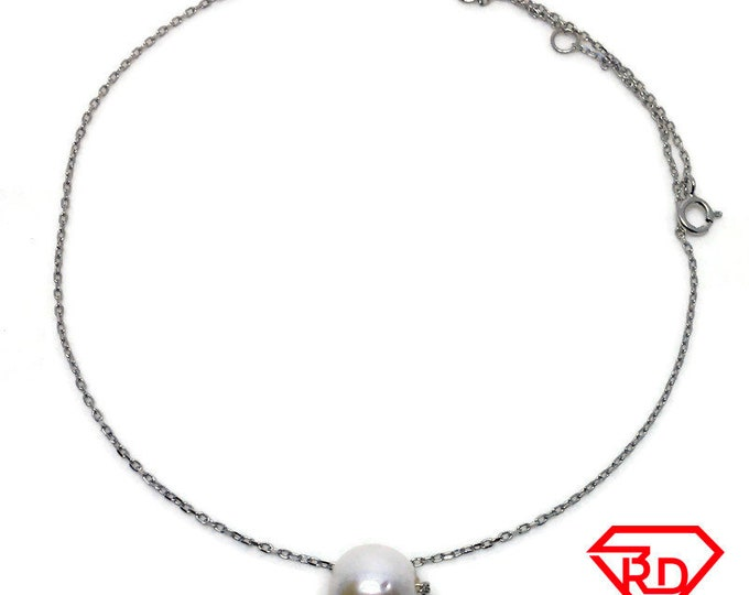 Round Single pearl Necklace 14 inch chain white gold on silver