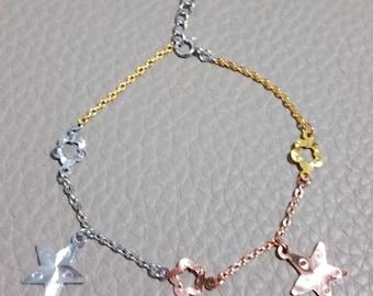 14k Tri-Color Gold Layer on 925 Sterling Silver Dangling Big Stars Flowers Charms Bracelet