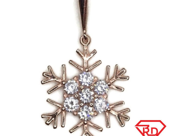 Rose Gold on Silver Pendant Snowflake with round white CZ
