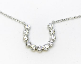 NEW 14k White Gold Layer On 925 Sterling Silver Horseshoe Link Necklace 0.8 mm - 18""