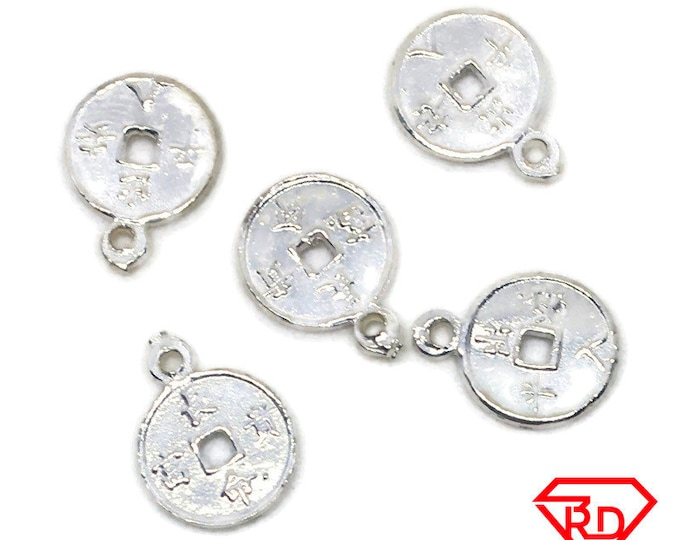 Handcraft tiny round charm 5 pcs jewelry making 925 Solid Silver