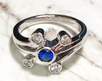 NEW 14K White Gold Layered on Sterling Silver Small Blue Circle Stone Ring