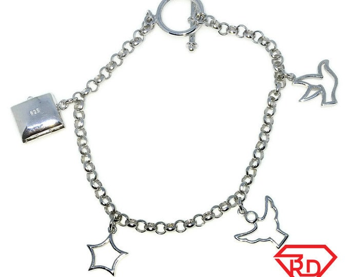 New White Gold Layered 925 Solid Sterling Silver 7 inch Multiple shapes baby Bracelet with Toggle clasp