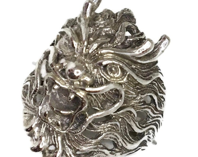 dragon head Men ring Anti-Tarnish Silver Band (Size  8 )