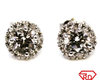Stunning Round 14k White Gold on Silver Earrings