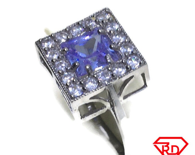 Square Purple CZ ring band 14K Real White gold S8