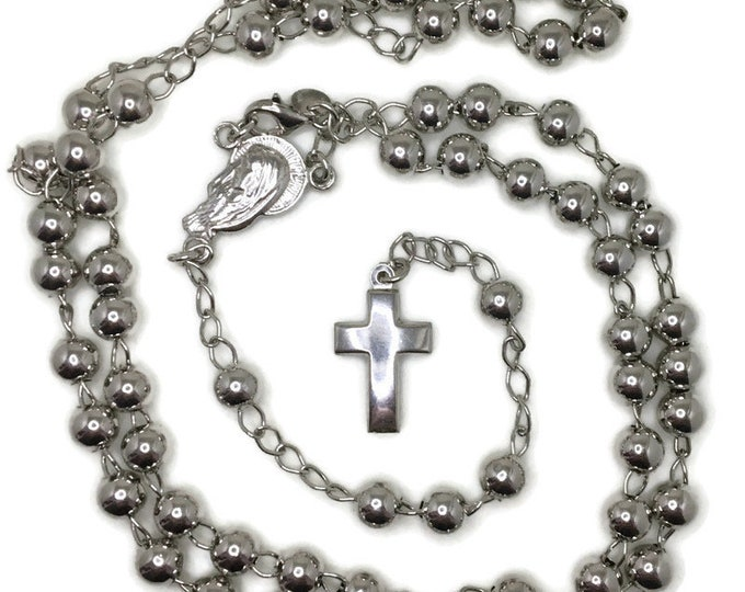 Rosary medium beads and cross on white gold layer solid silver