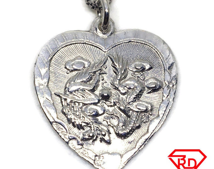 Dragon and Phoenix heart pendant White gold layer