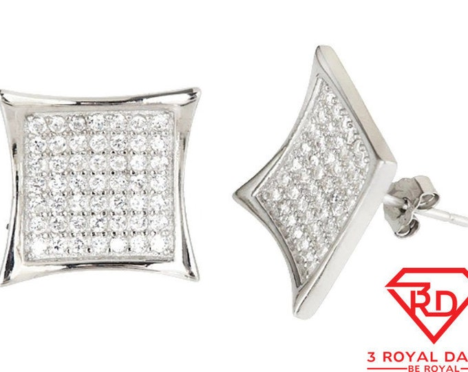 14k White gold layer X Large size Hip Hop CZ .925 Sterling Silver Micro Pave Earrings