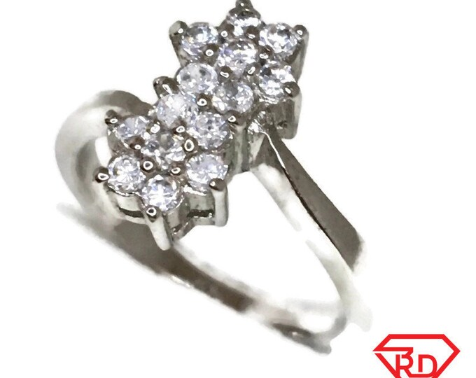 Brand New White Gold on 925 Sterling Silver Ring Two Flowers of Round white CZ ( size 6 )