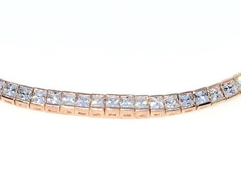 New Rose Gold Layered 925 Solid Sterling Silver 7 inch Bezel Princess White CZ Tennis Bracelet with Box Clasp