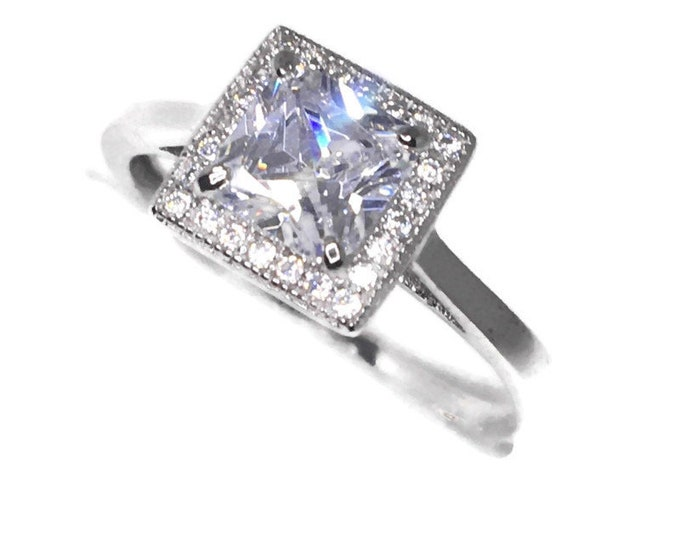 small 4 prong white princess CZ White gold on Silver ring Band (8 . 5